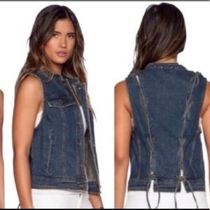 Free People Denim Vest Ripped Lace Up